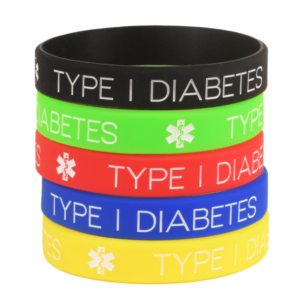Type 1 Diabetes Bracelets Silicone Medical ID Wristbands (Pack of 5) One size for All