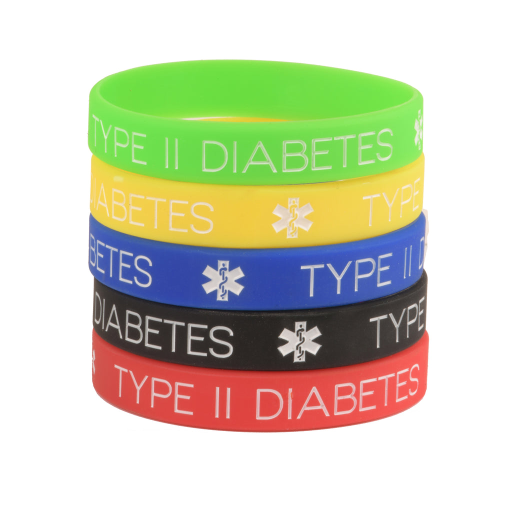 Type 2 Diabetes Bracelets Silicone Medical ID Wristbands (Pack of 5) One size for All
