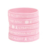 Pack of 5 Pink Ribbon Lymphedema Alert Bracelet for Women Breast Cancer Awareness Pink Ribbon Bracelets