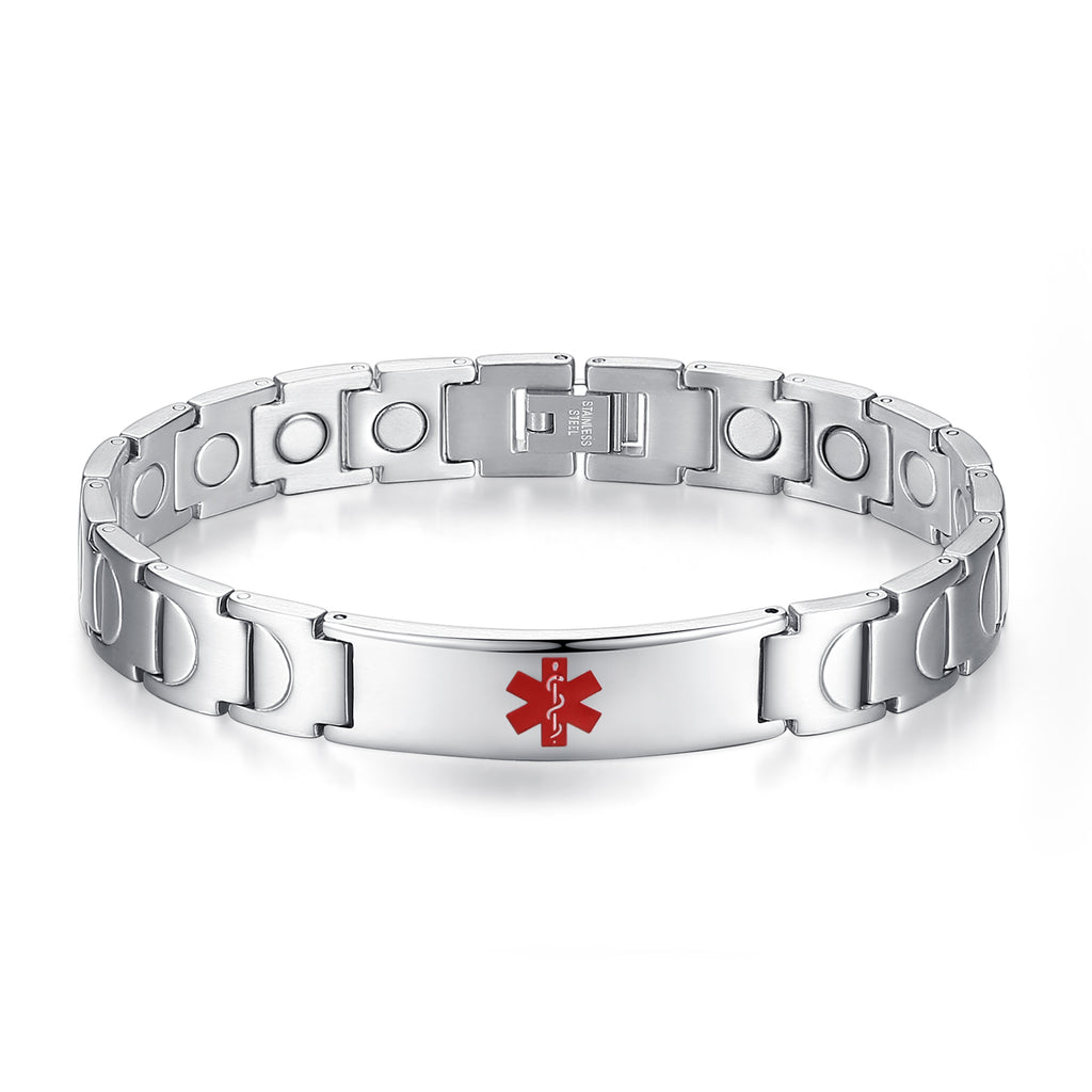 Stainless steel Medical alert id bracelets with Magnetic energy for Men & Women