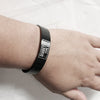Black Medical Alert Cuff Bracelet-type 2 diabetes
