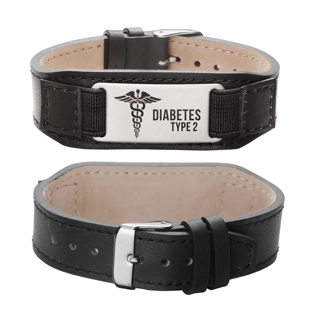 Diabetes bracelet for Type 2 Comfortable Genuine Leather Medical id alert bracelets for men and women