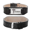 Pacemaker bracelet Comfortable Genuine Leather Blood thinner Medical bracelets for men and women