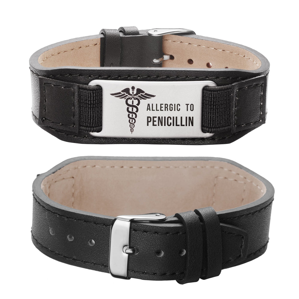 Allergic To Penicillin Medical Alert ID Comfortable Genuine Leather Medical alert bracelets for men and women