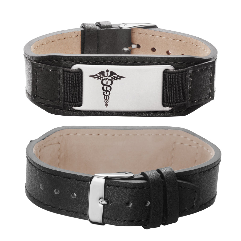 Comfortable Medical bracelets Genuine Leather Alert Bracelets for men and women with Free Personalized Engraved