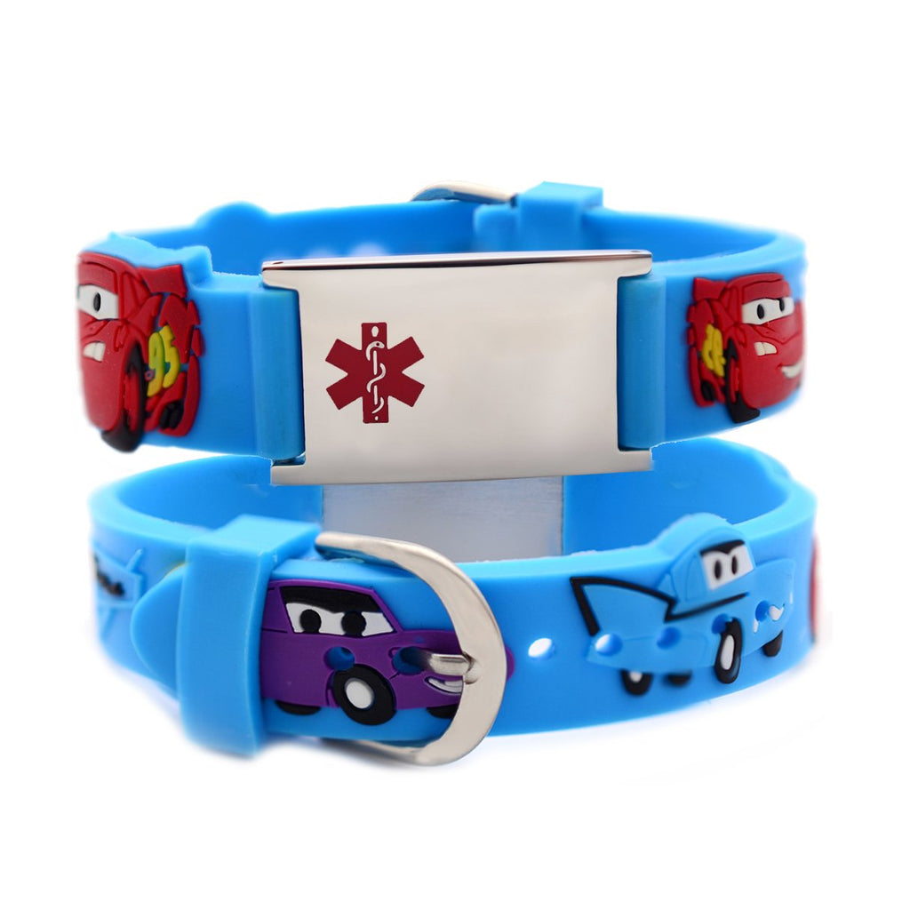 Custom engraving Medical Bracelet for Boys-Cars