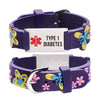 Type 1 Diabetes bracelets for Girls-Purple butterfly