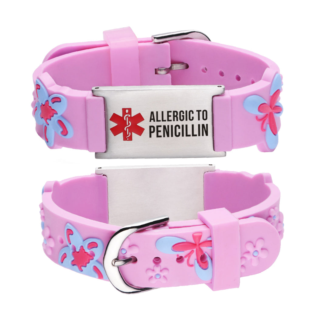 Allergic to Penicillin Bracelet for Girls-Pink butterfly