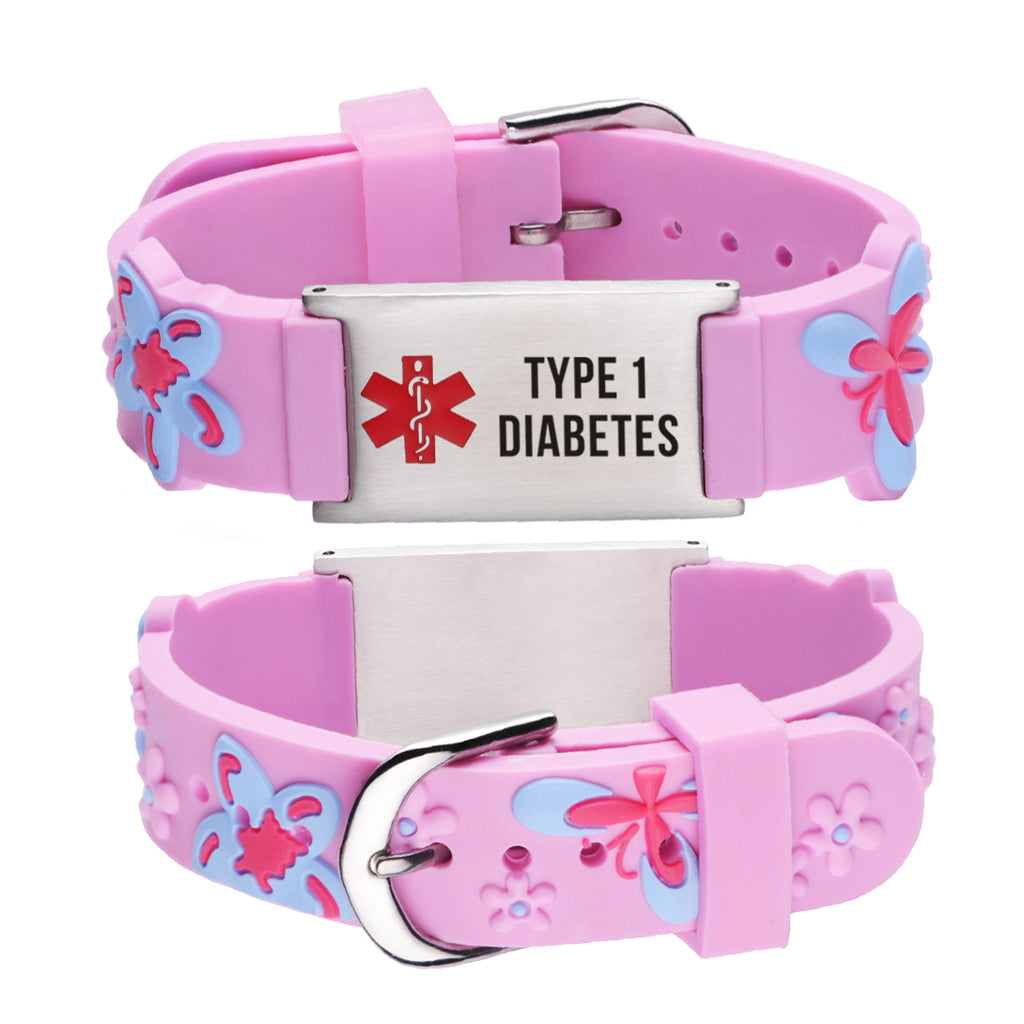 Type 1 Diabetes Bracelet for Girls-Pink butterfly