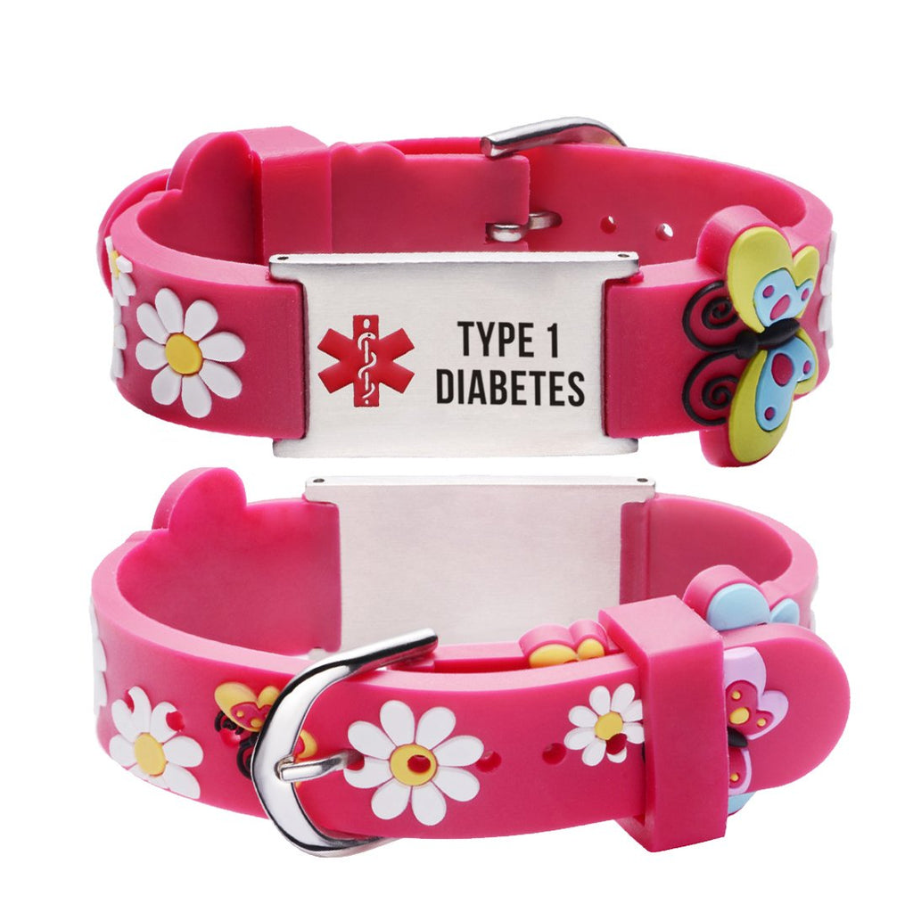 Type 1 Diabetes bracelets for Girls-Red butterfly