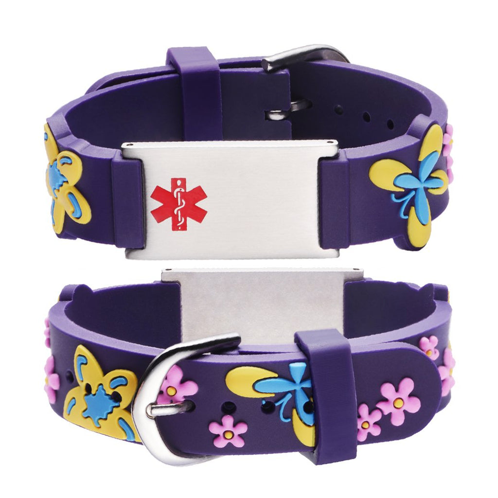 Custom engraving Medical Bracelet for Girls-Purple butterfly
