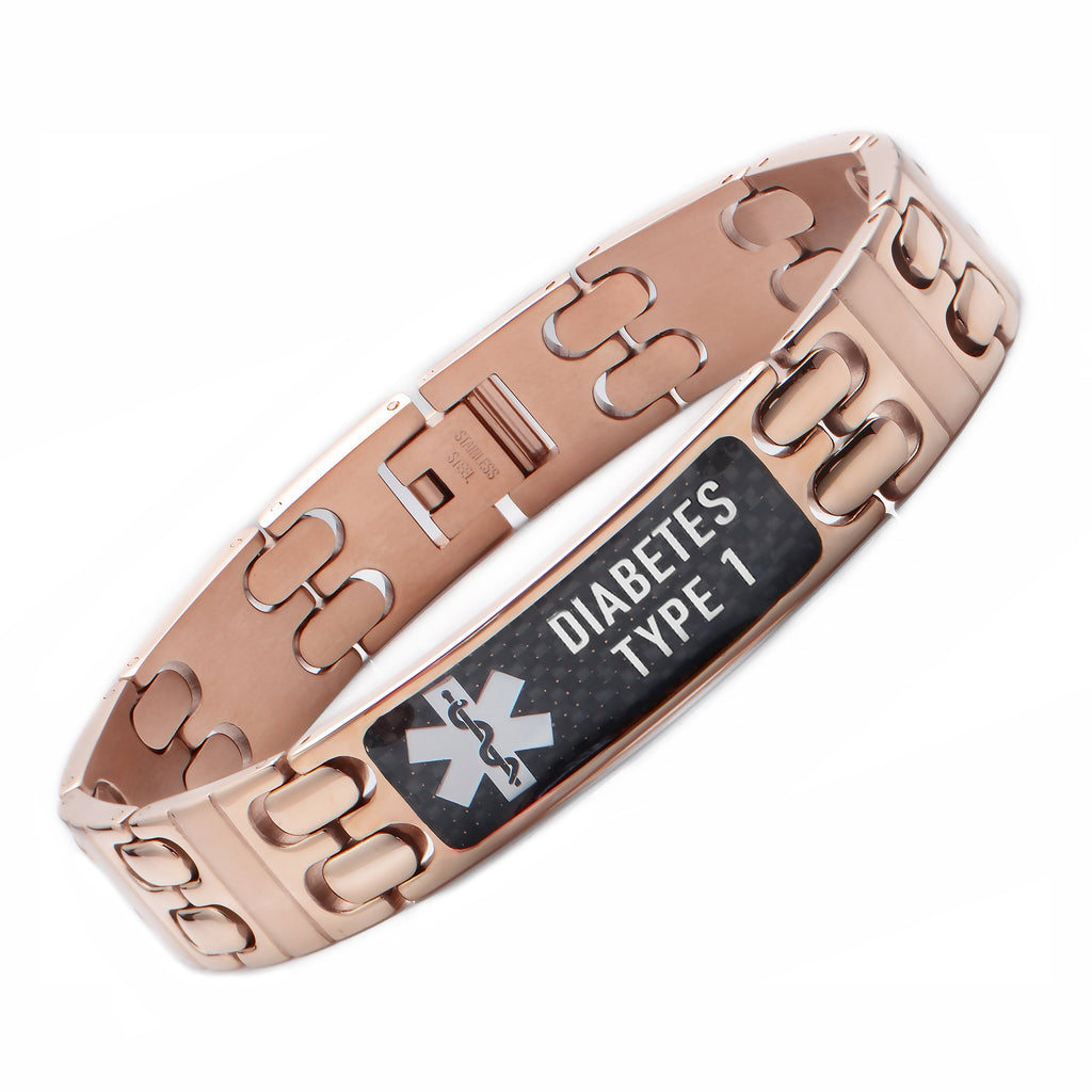 Warriors Rose gold Carbon Fiber Medical Alert id Bracelet-TYPE 1 DIABETES