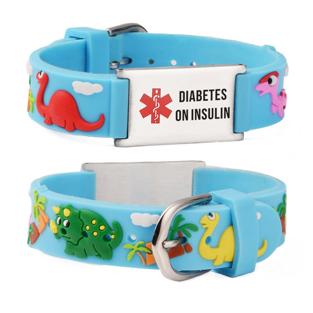 Diabetes bracelets for kids-Blue dinosa