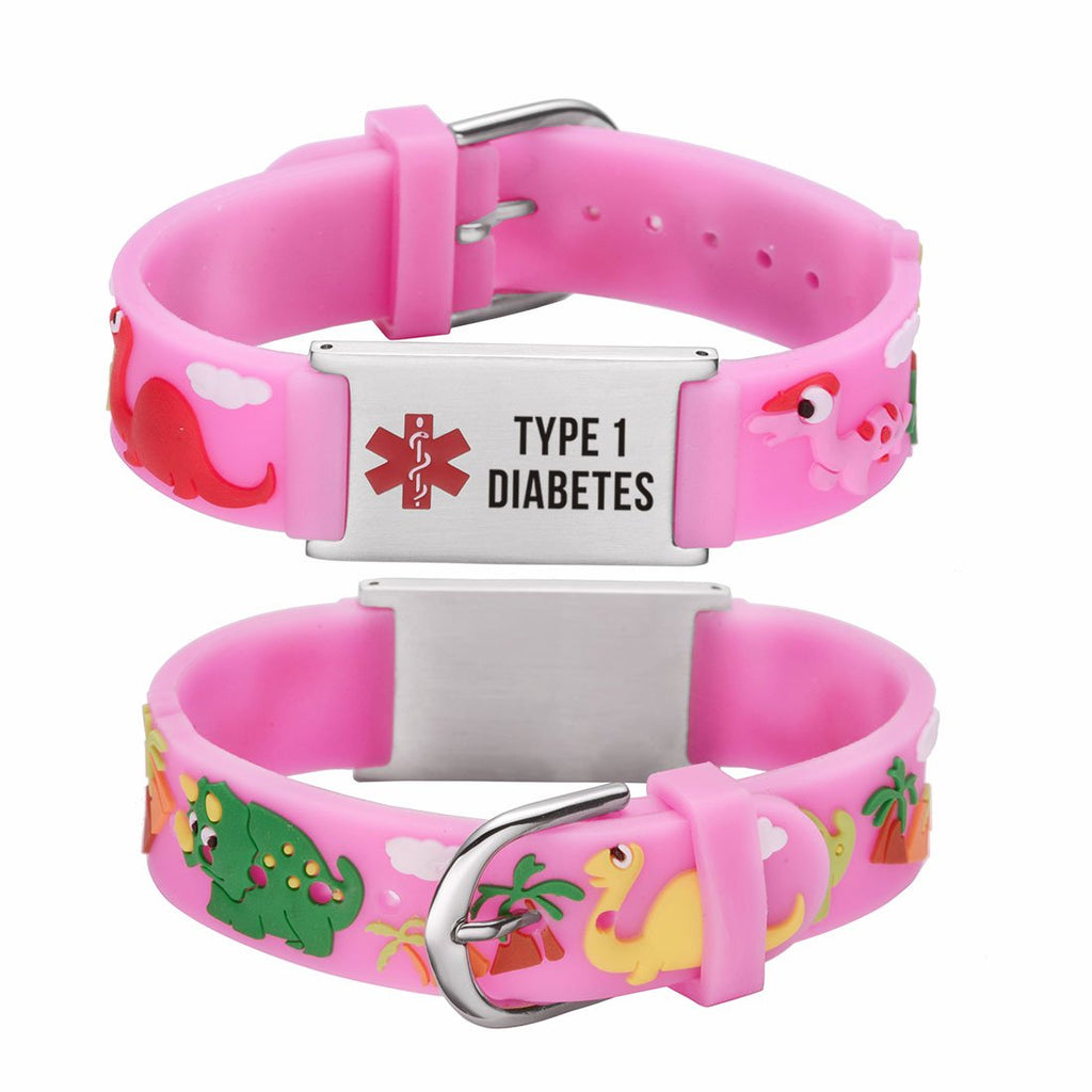 Type 1 Diabetes bracelets for kids-Pink dinosa