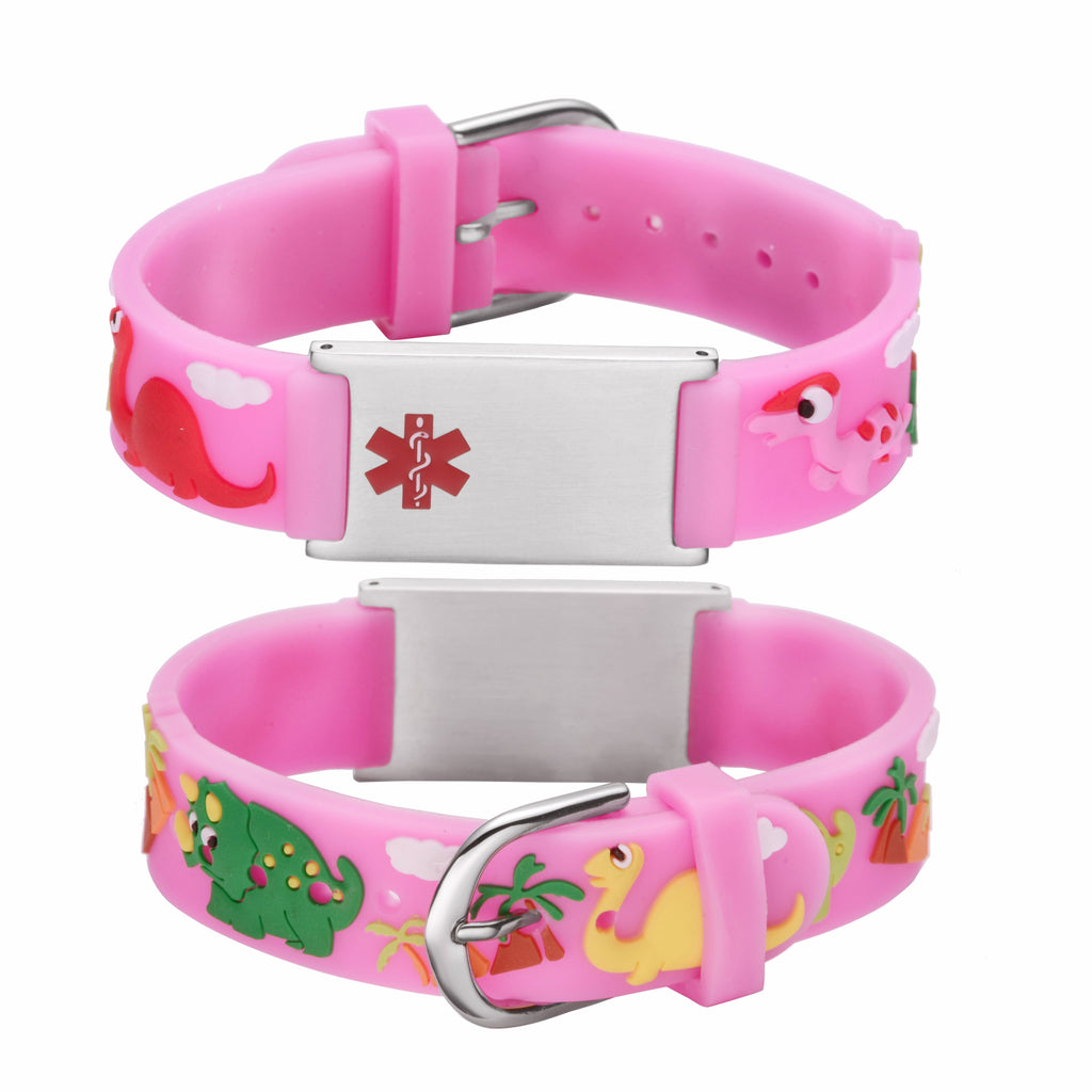 Custom engraving Medical Alert Bracelet for kids-Pink dinosa