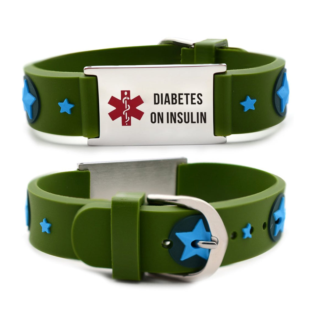 Diabetes bracelets for kids-Green american star