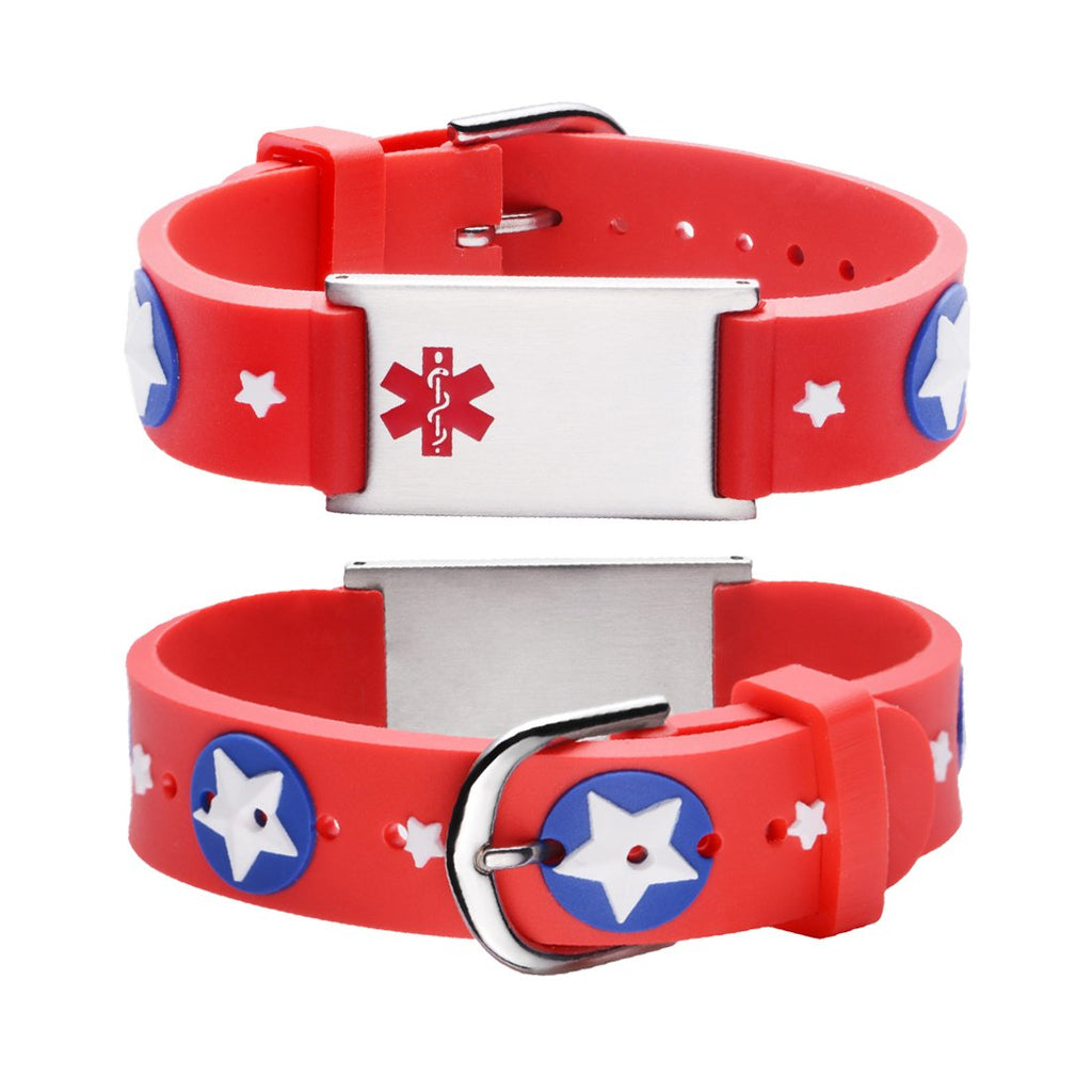 Custom engraving Medical Alert Bracelet for kids-Red american star
