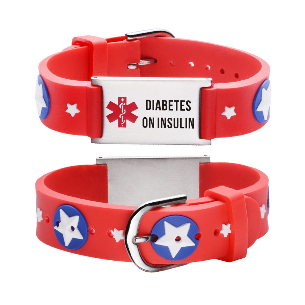 Diabetes bracelets for kids-Red american star