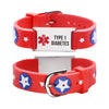 Type 1 Diabetes bracelets for kids-Red american star