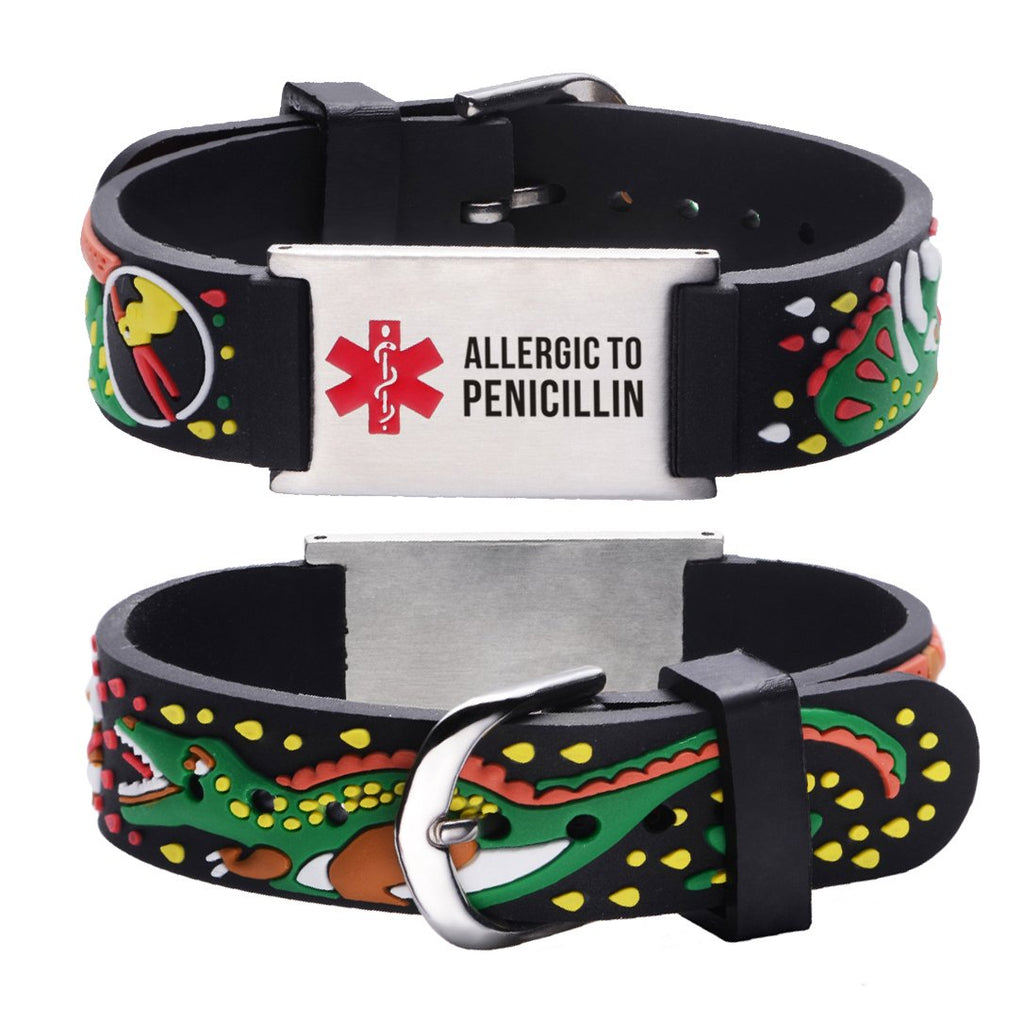 Allergic to Penicillin Alert Bracelet for kids-JURASSIC