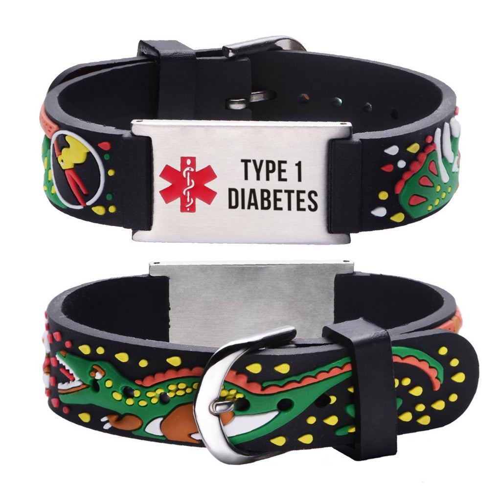 Type 1 Diabetes bracelets for kids-JURASSIC