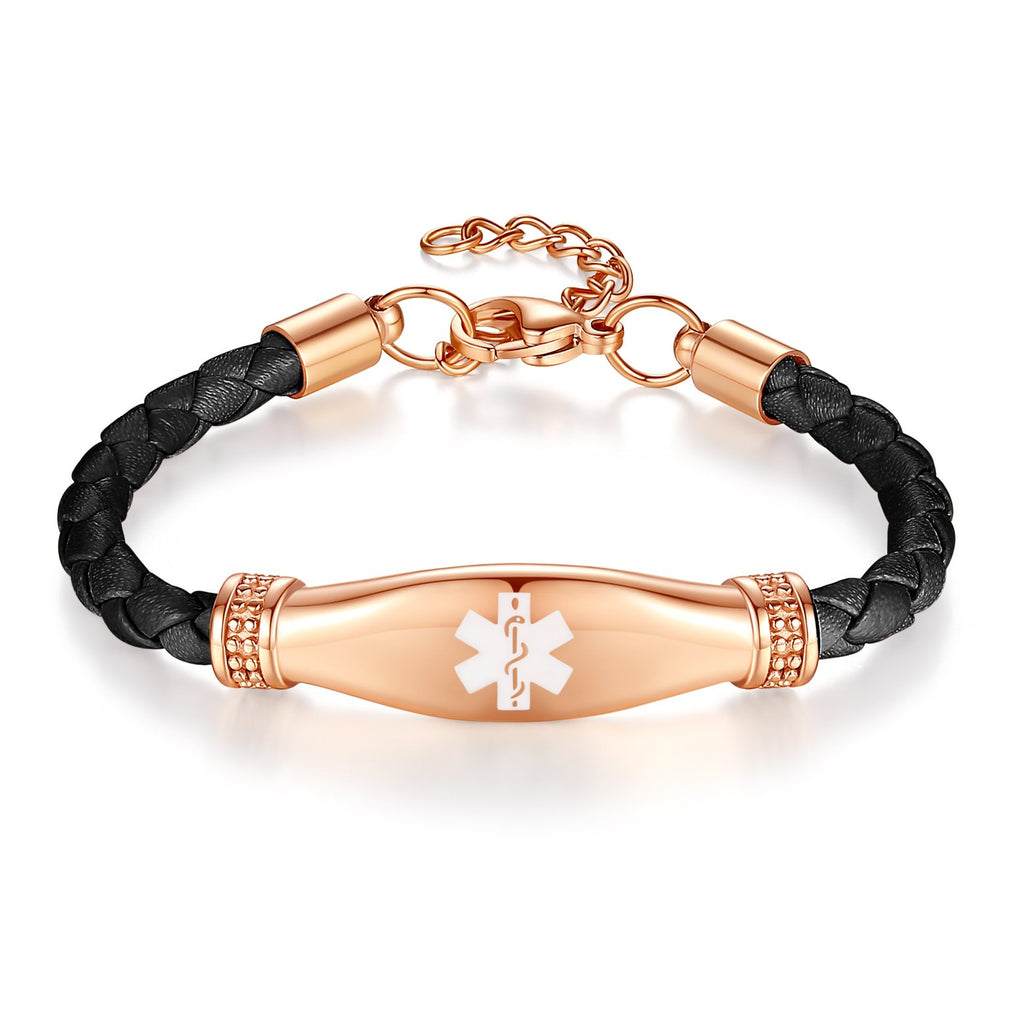 Beautiful Female Leather Medical ID Bracelets-Lymphedema alert bracelets for women