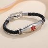Beautiful Female Black Leather Medical ID Bracelets