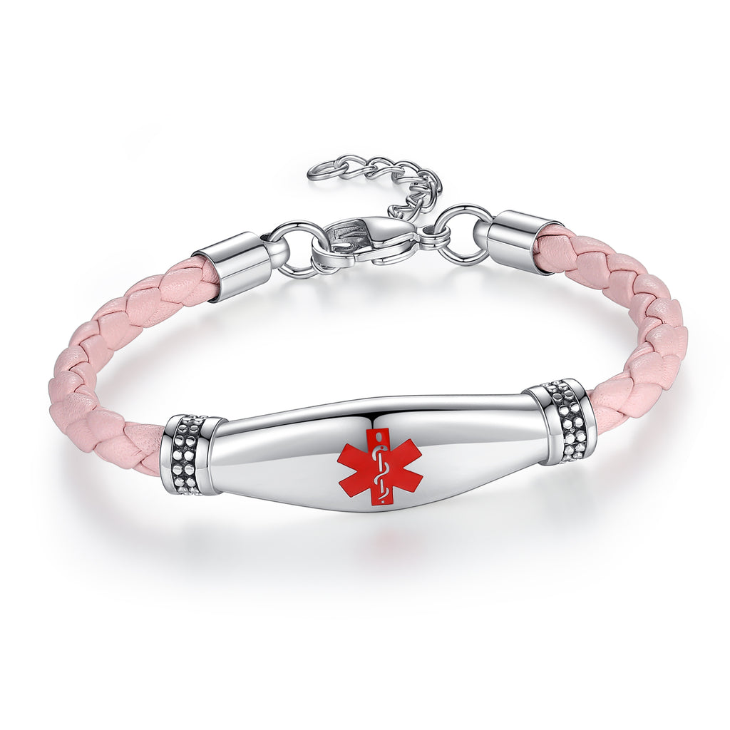 Beautiful Female Pink Leather Medical ID Bracelets