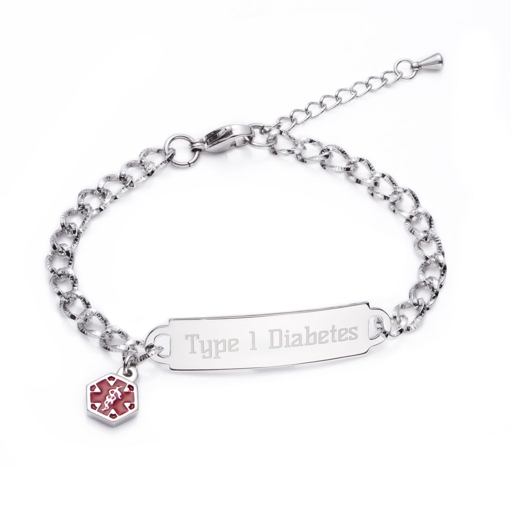 SHINING DIAMOND CUTTING Type 1 diabetes BRACELET FOR WOMEN & GIRLS