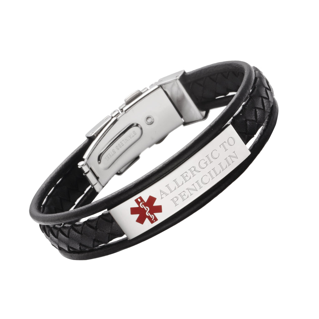 LEATHER WRAP MEDICAL ALERT BRACELETS-Allergic to Penicillin