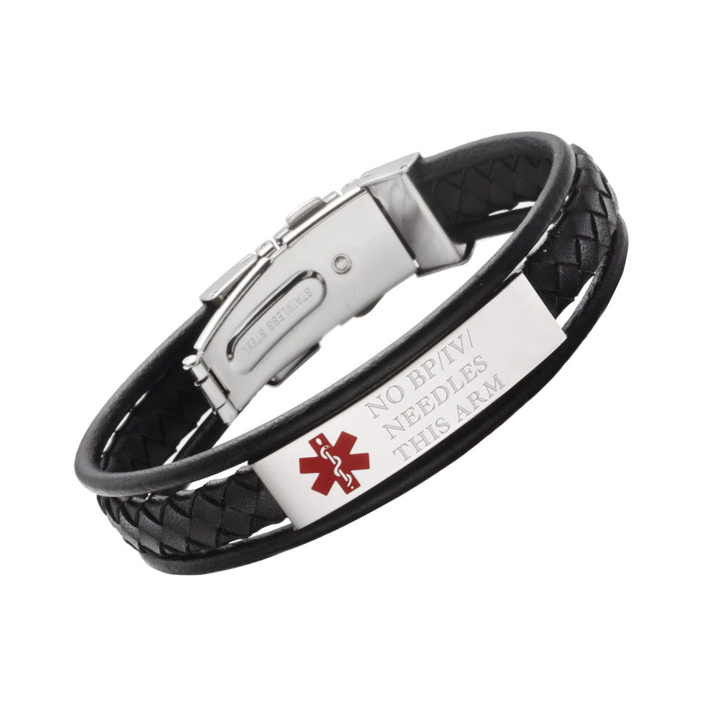 LEATHER WRAP MEDICAL ALERT BRACELETS-NO BP/IV/NEEDLES THIS ARM