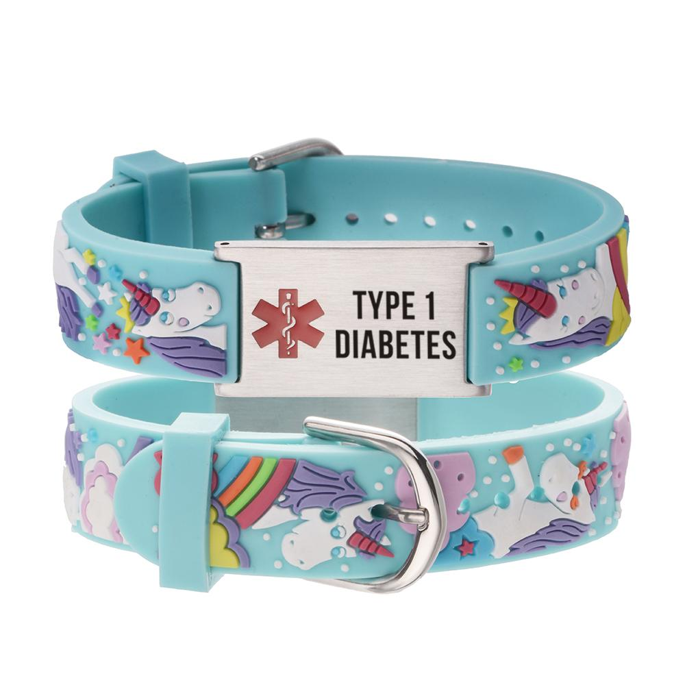 linnalove medical alert id epilepsy bracelets Parents gift to Son, daughter, brother, sister-cartoon Rhinoceros