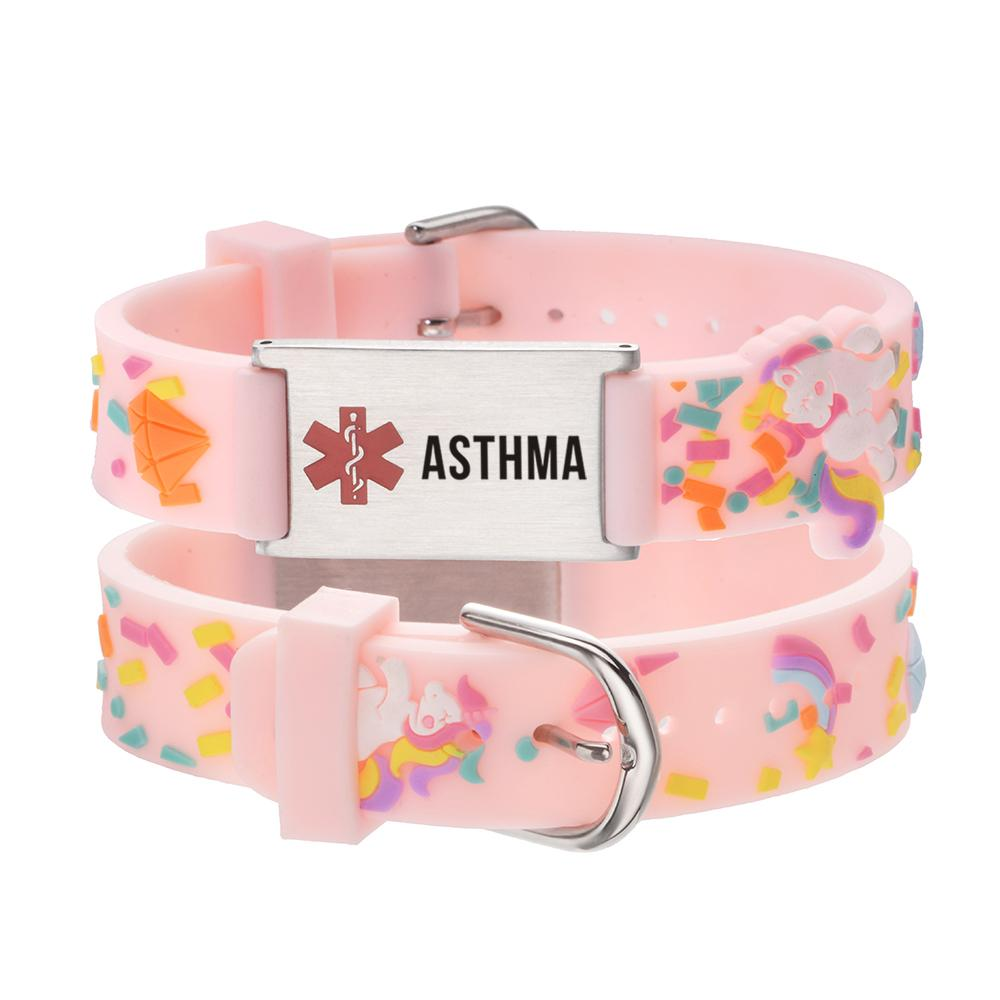 linnalove-ASTHMA Medical id bracelet Parents gift to Son, daughter, brother, sister-Pink little sheep