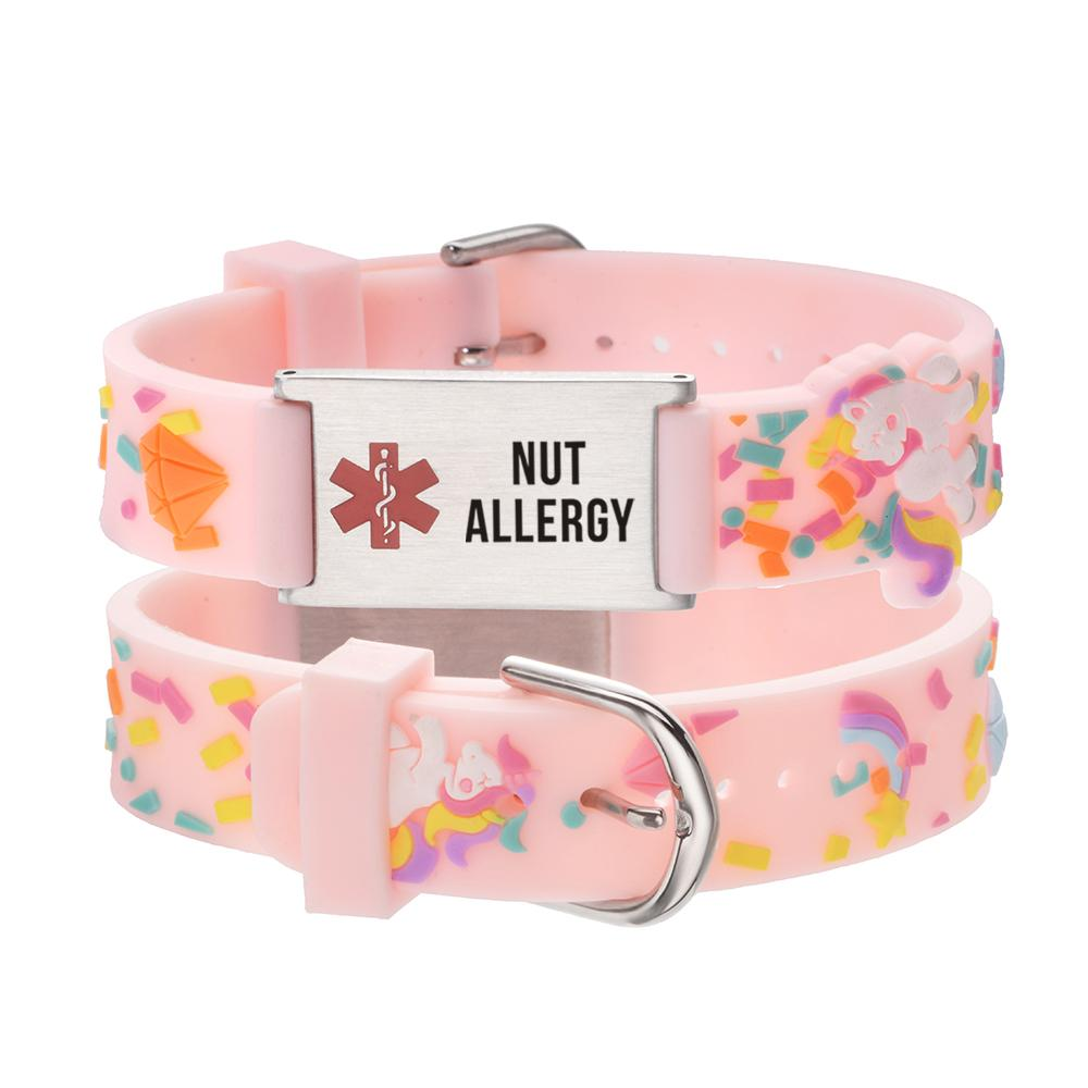 linnalove Nut Allergy Medical id bracelet Parents gift to Son, daughter, brother, sister-Pink little sheep
