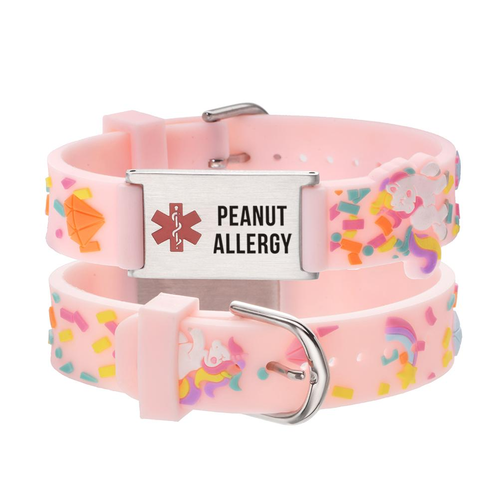 linnalove-Peanut Allergy bracelet Pink little sheep cartoon Medical id bracelets for boys and girls