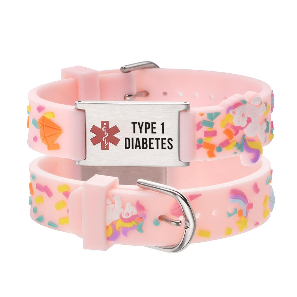 "linnalove-Cartoon Pink little sheep Medical id bracelet Parents gift to Son, daughter, brother, sister-Pre-engraving""TYPE 1 DIABETES"""