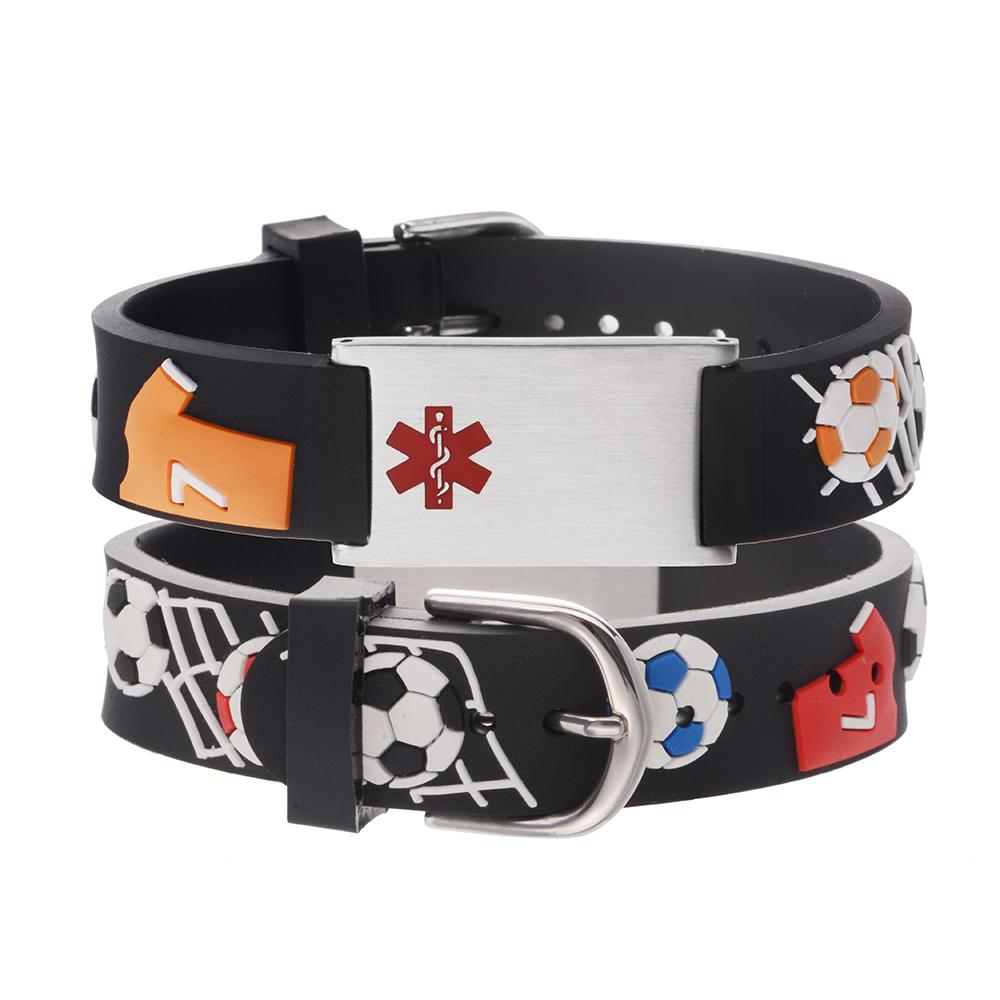 linnalove-Free custom engraving Cartoon Football Medical id bracelets for boys and girls