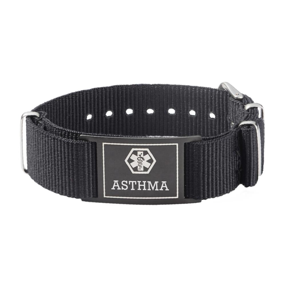 ASTHMA Bracelets for Boys & Girls-Black Canvas band
