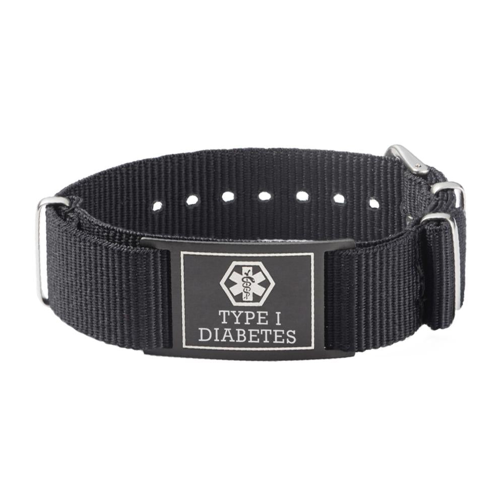 Type 1 Diabetes Bracelets for Boys & Girls-Black Canvas band