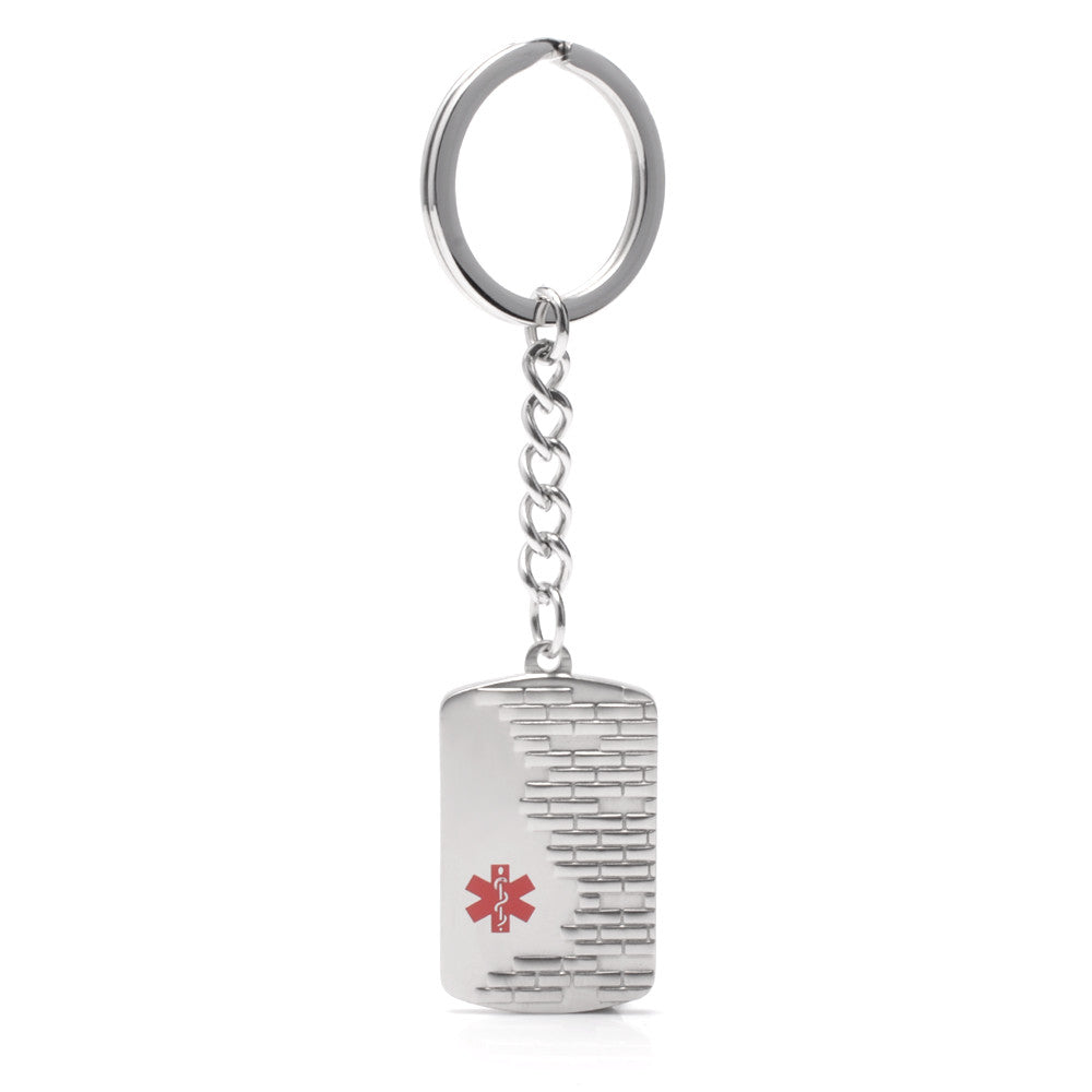 Stainless steel City wall Medical id Key chain
