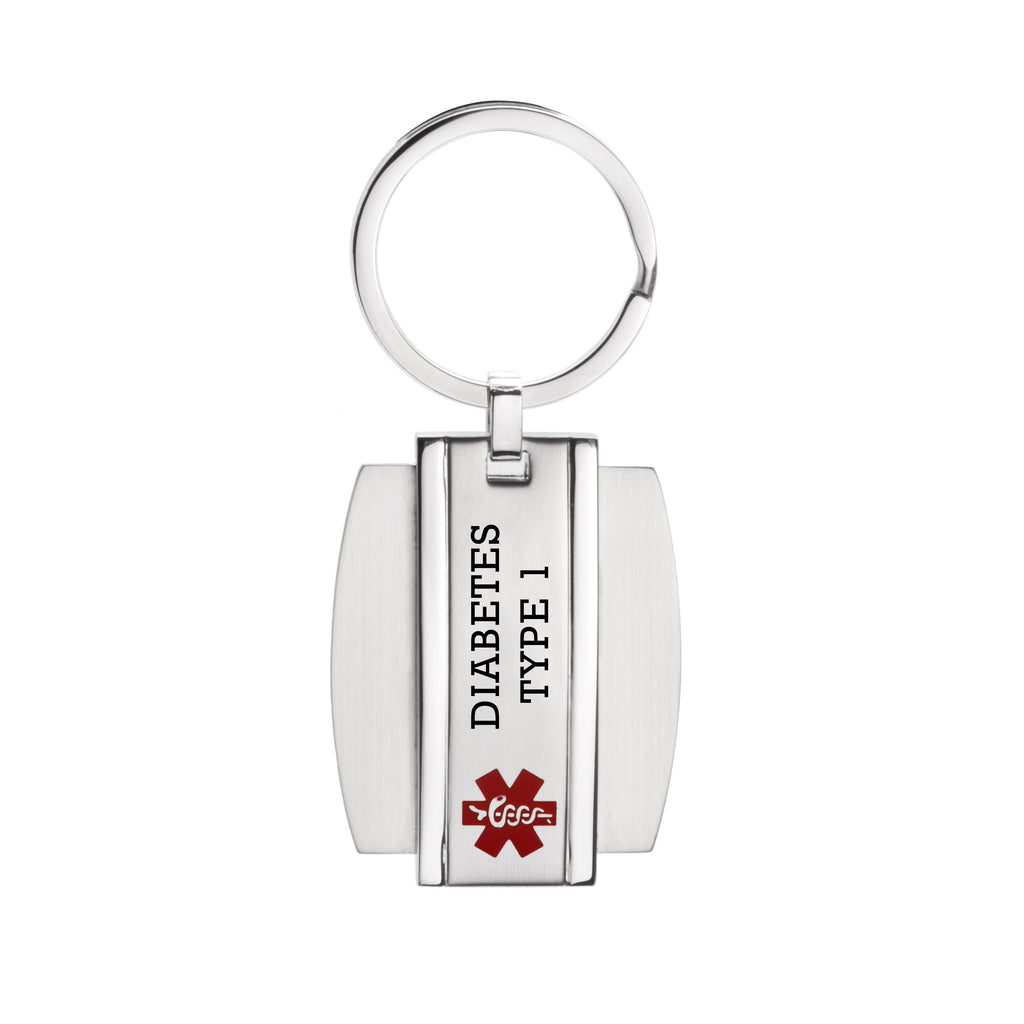 Stainless steel Medical alert id Key chain for diabetes type 1(916)