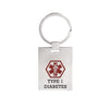 Medical alert id Key chain for men and women with diabetes type 1(919)
