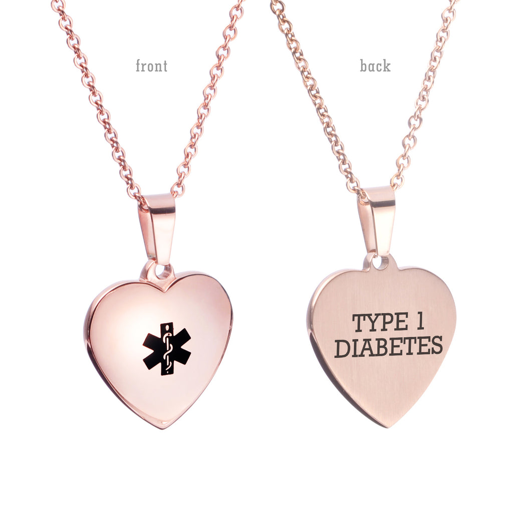 Heart Charm Medical alert id Necklaces for Women & Girl