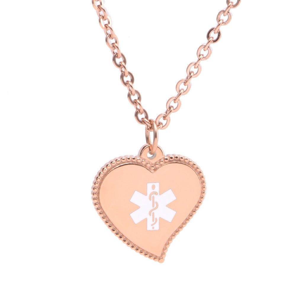Rose gold  Sophie Heart Medical ID Charm