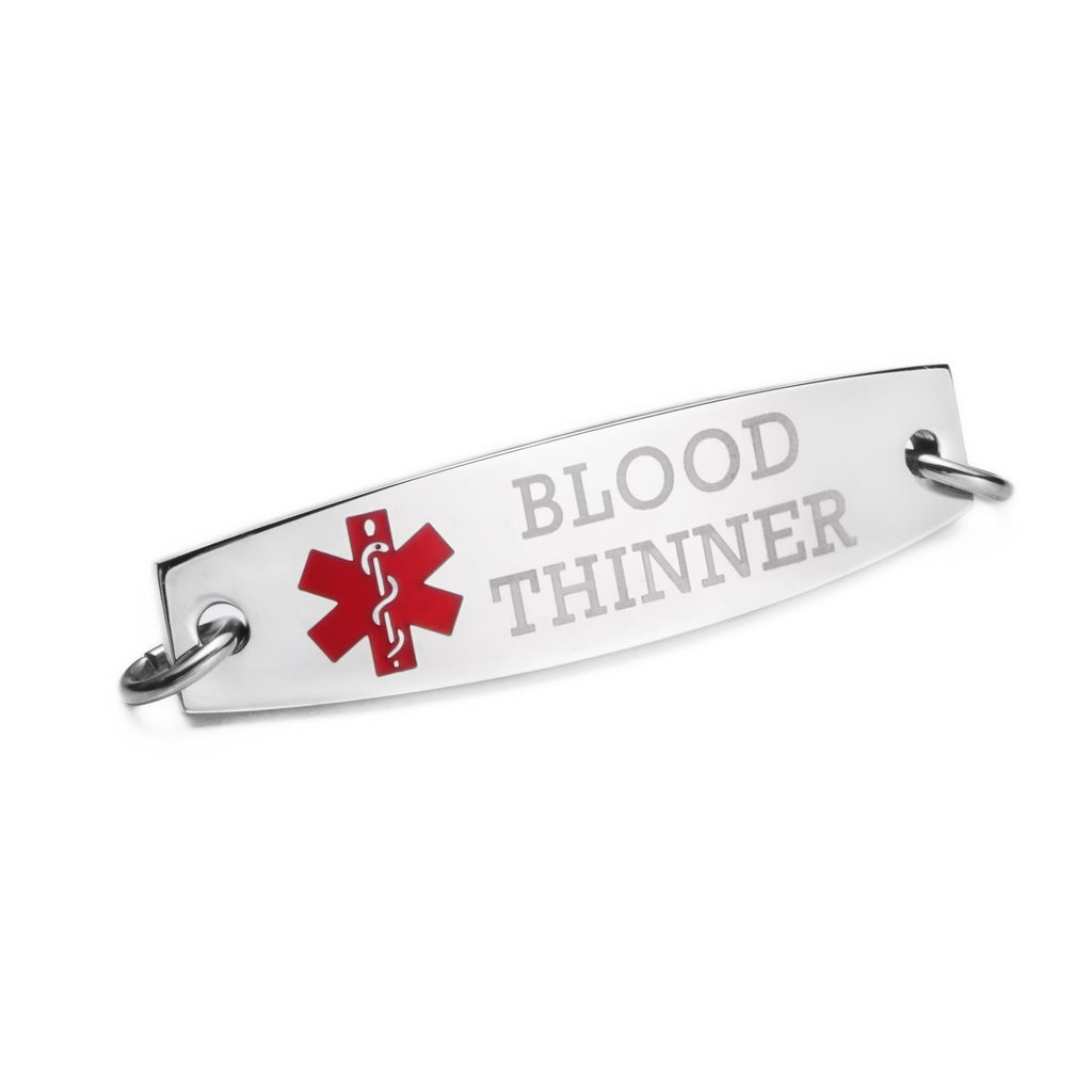 "Pre engraving""BLOOD THINNER"" Medical alert tags-Model C"