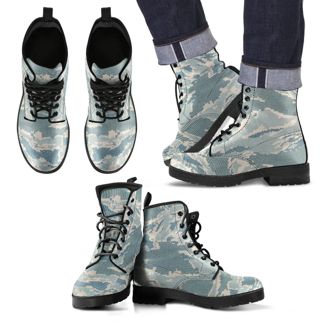 Digital Tiger Stripe Camouflage Men's Leather Boots