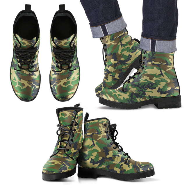 Men's Military Leather Boots Woodland Camouflage