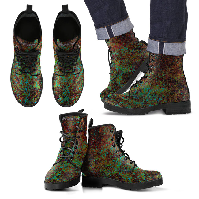 Green Marble Men's Leather Boots