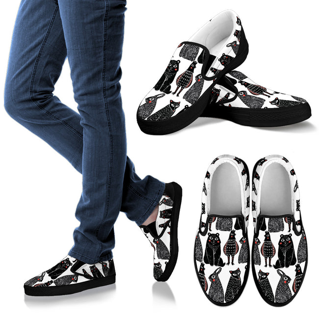 Adorable Animal Woodcut Men's Slip-On Shoes