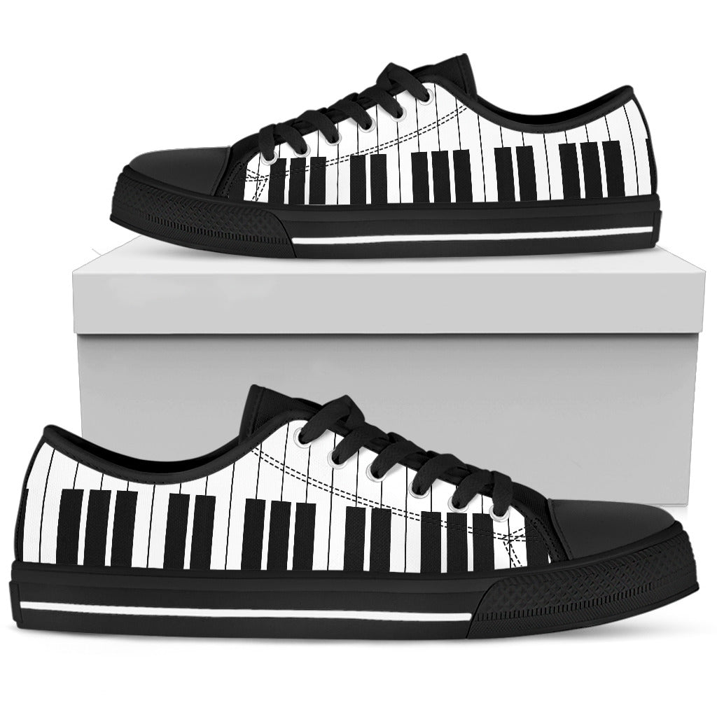 Ebony & Ivory Classical Piano Style Low Top Men's Shoes